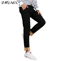 Uwback Winter Thick Pants Men Super Warm Fleece Slim Casual Pants Black Khaki Straight Trousers Man