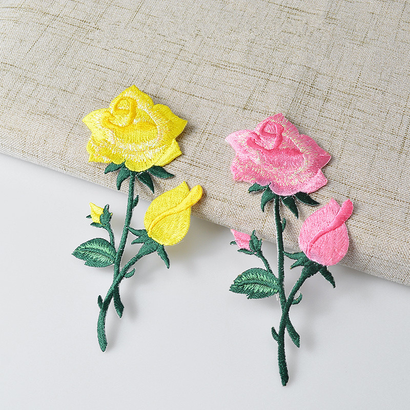 ID 6002 Sequin Yellow Rose Patch Blossom Open Flower Embroidered IronOn Applique