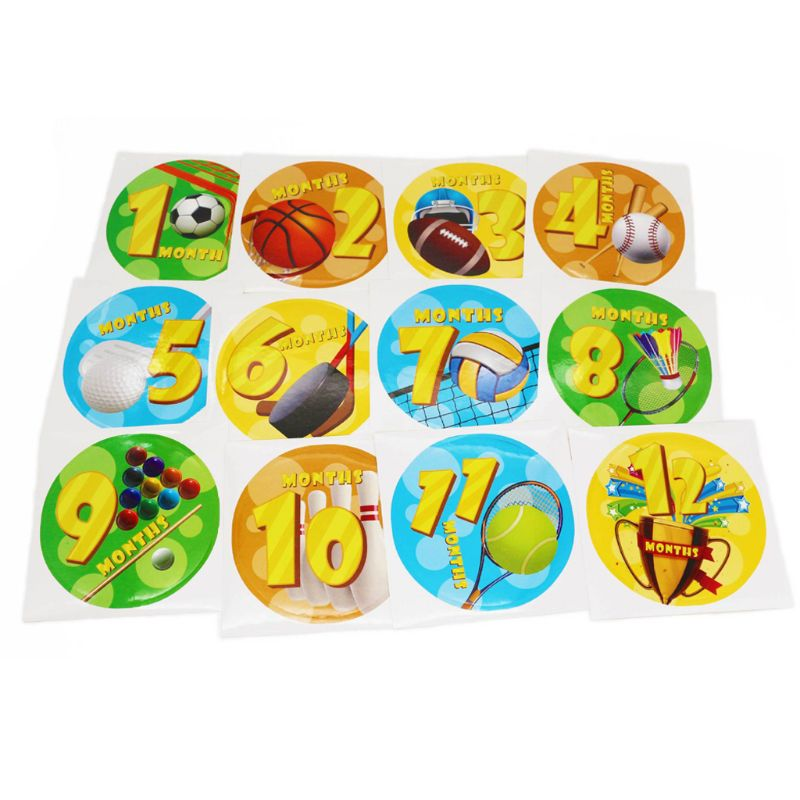 Premium New Baby Pregnant Women Monthly Photograph Stickers Fun Month 1 12 Milestone Clothes Decoration Stickers 12Pcs Set in Stickers from Toys Hobbies
