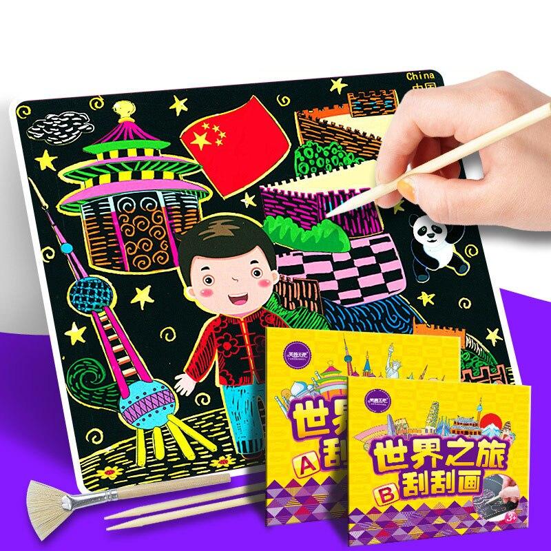 Para Aprendizaje Pintura De Materiales Scraping Temprano Juguetes Niños Dibujo Educativos 9H2WEDI