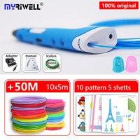 Myriwell 3 d ручка 3d ручки + 10*5 м abs нить pla 1,75 мм 3d модель умная 3d печать Ручка лучший подарок для детей pen-3d 3d-ручка