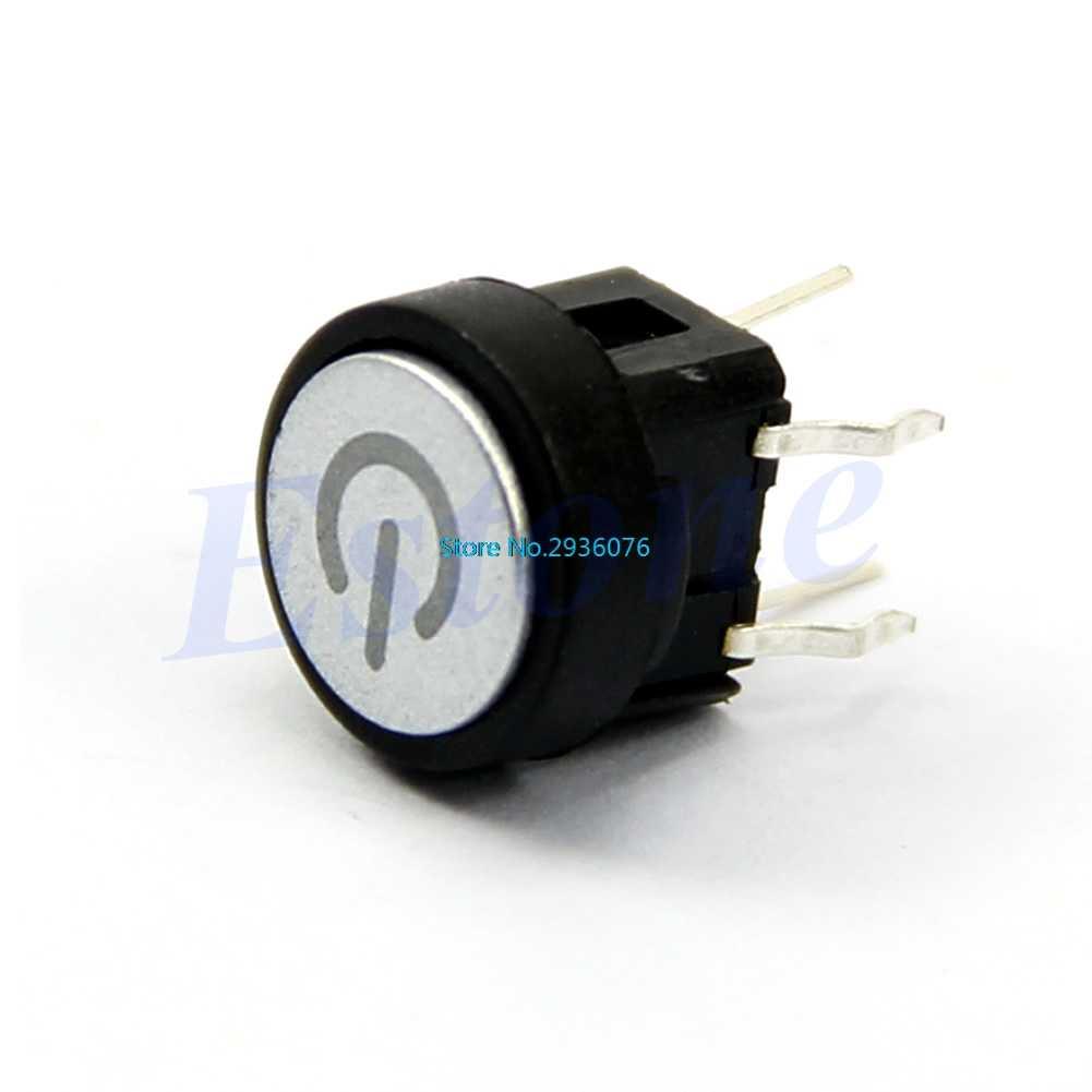 Bouton poussoir symbole d'alimentation lumière LED rouge interrupteur de coque d'ordinateur à verrouillage momentané