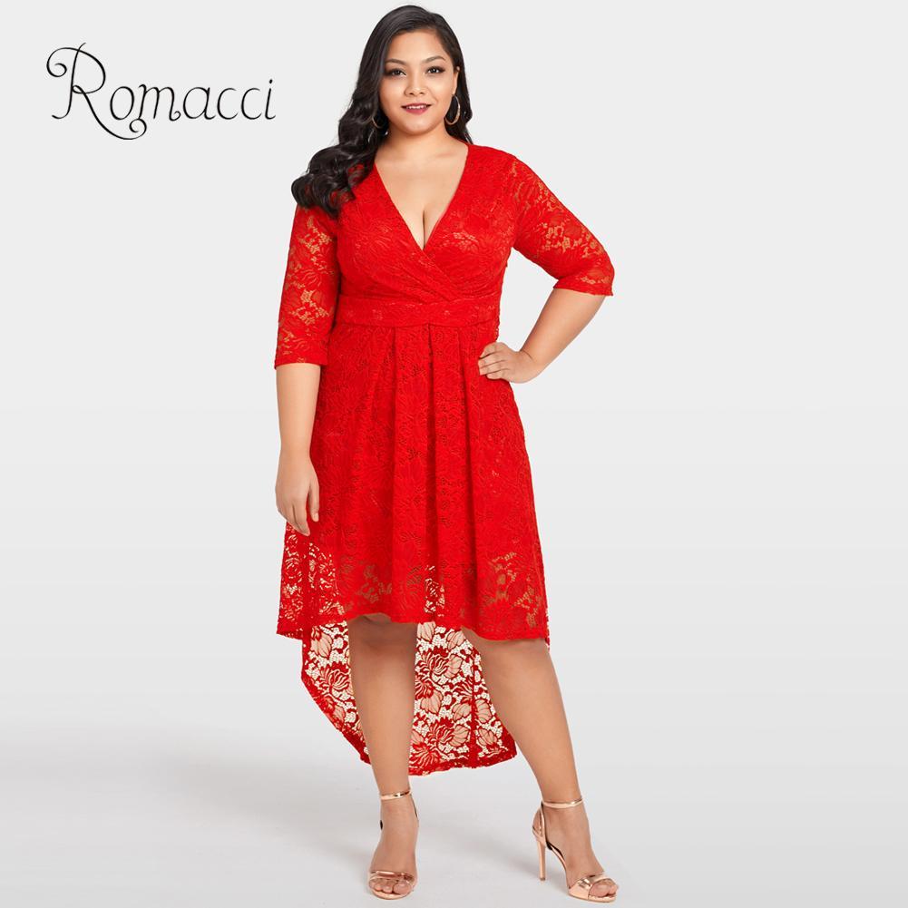 Romacci 2019 Summer New Female Dress 4XL 5XL Plus Size Lace Dress Cross  Front High Low Hem Deep V Neck Half Sleeve Party Dresses-in Dresses from  Women s ... ab01b183f281