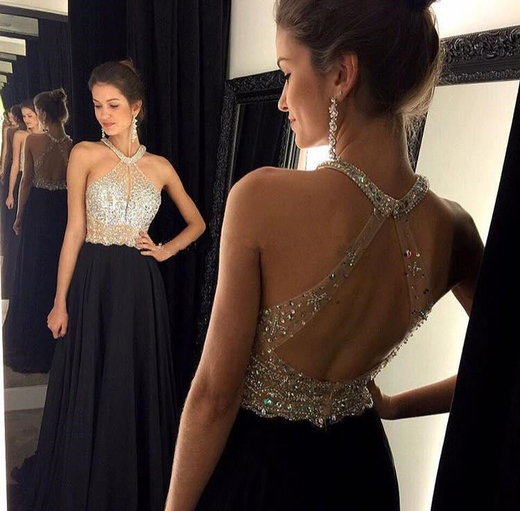 Sexy A-Line Halter Black Prom Dresses 2019 Fashion Off Shoulder Chiffon Beaded Crystal Long Formal Party Gowns