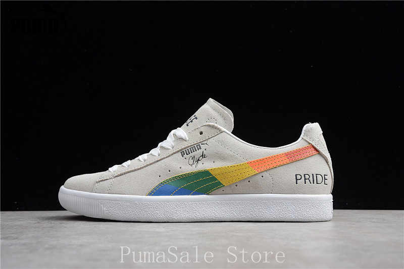 41e11fd4ffd4 ... New Arrival Original Puma Clyde White Grey Men s Shoes 365925-01 Low  Top Rainbow Sneaker
