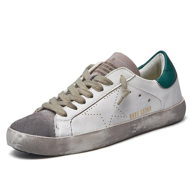 2017 Новая Мода Известный Бренд Роскошных Обувь Для Женщин Повседневная Обувь Из Натуральной Кожи Женщины Золотой Грязные Homme Низкие Дышащей Обуви
