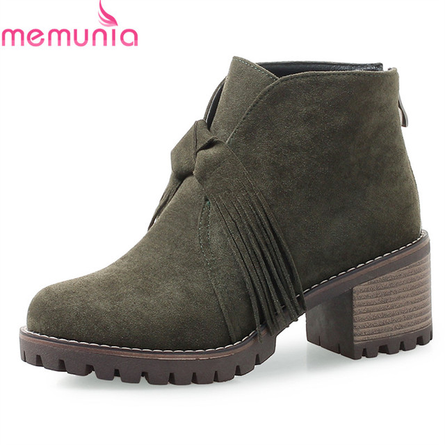 95847aee1 MEMUNIA NEW Arrival Women Brand Boots 2018 Flock Slip On Round Toe Ankle  Boots Classic Ladies