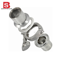 2 Pcs 1 25 DN32 Sanitary Female Threaded Ferrule Pipe Fittings Tri Clamp Gasket Stainless Steel