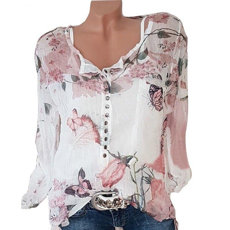 6d12d31fae Botão Mulheres Camisas Casual Outono Com Decote Em V Chiffon Blusa Mulheres  Top Camisa Feminina de Manga Comprida Senhoras Blusa Impressão Camisa Femme