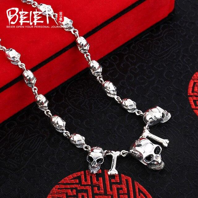 Beier cửa hàng mới 100% 925 bạc sterling dây chuyền mặt dây punk skull đồ trang sức mỹ chuỗi vòng cổ cho nam br925xl022