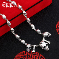 Beier New Store 100 925 Silver Sterling Necklaces Pendants Punk Skull Fine Jewelry Chains Necklace For