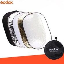 Godox 5 in 1 100*150 ซม.พื้นหลังสี่เหลี่ยมผืนผ้าสี่เหลี่ยมผืนผ้า Reflector พับโคมไฟ Diffuser Black Silver Gold สีขาว