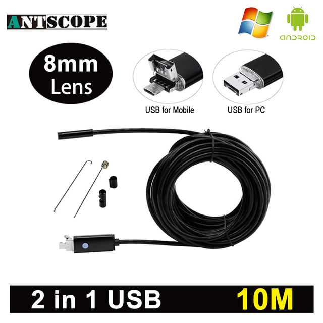 Antscope 8mm Lens Android Endoscope HD USB Android Endoscopic Mini Camera Inspection Android 10M Borescope USB Endoskop Camera