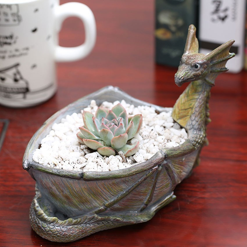 New Resin Succulent Plant Flower Pots Creative Indoor Desktop Potted Fire-breathing Dragon Craft Ornaments