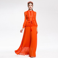 High Quality 2018 New Designer Runway Maxi Dress Women S Long Sleeved Vintage Lace Patchwork Pleated