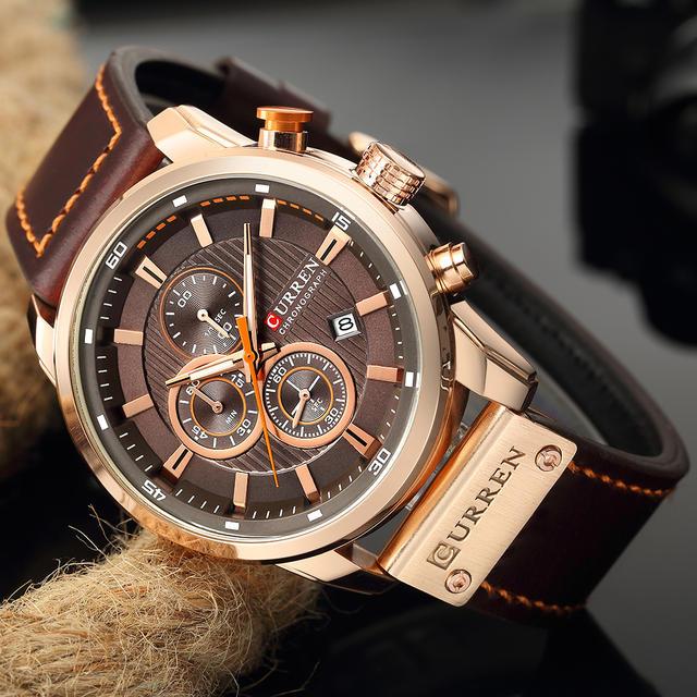 CURREN Watch Men Waterproof Chronograph Sport Military Male Clock Top Brand Luxury Leather Man Wristwatch Relogio Masculino 8291