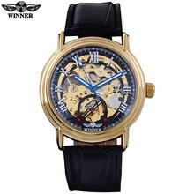 ПОБЕДИТЕЛЬ мода повседневная бренд мужской механические часы кожаный ремешок мужская автоматическая скелет золотые часы мужской часы reloj hombre