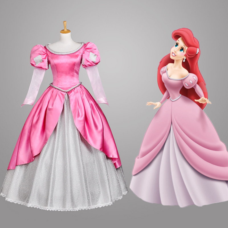 Pink The Little Mermaid Princess Ariel Dress adult costume Cosplay Costume For Halloween party princess ariel dress halloween costumes fancy the little mermaid ariel cosplay costume mermaid costume green party dress