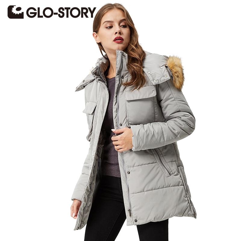 GLO-STORY Women Parkas coats 2017 Winter Downs Coat Casual Hoodie Women Parka Warm Clothes Hooded Outwear Coat WMA-3267 стул трансформер для кормления гном ст 01 с вкладышем