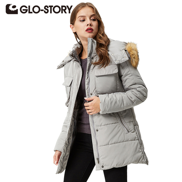 a1208c805 GLO STORY Women Parkas coats 2018 Winter Downs Coat Casual Hoodie ...