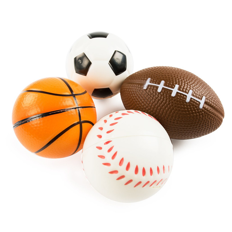4pcs Sports Themed Mini Stress Balls Squeeze Foam For Anxiety Relief, Relaxation, Party Favor Toy, Gifts