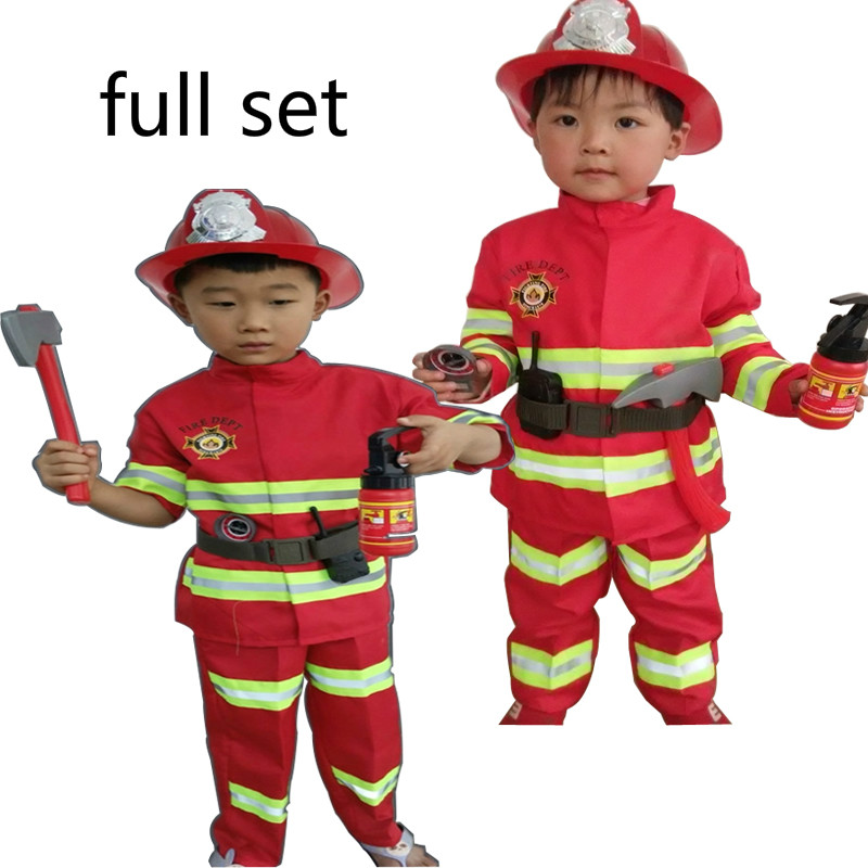 Home Tprpco Fireman Costumes Boys Play Stage Halloween Children Clothing Firefighters Fire Fighters Nl149
