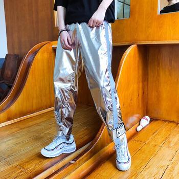 2020 new street dance hip hop night stage stage bright performance pants men stage silver harem pants singer costume