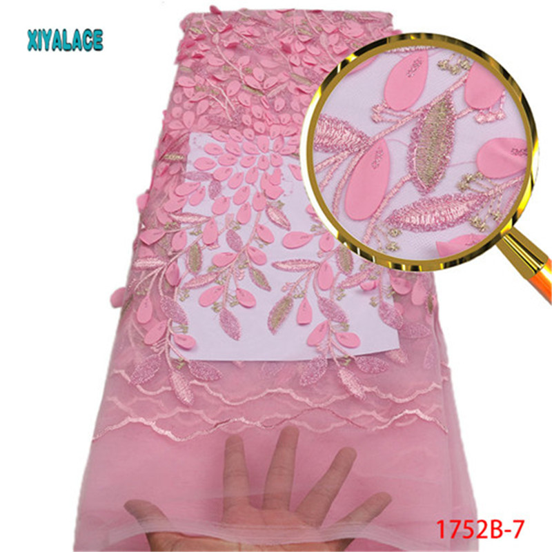 Nigerian Lace Fabric 2018 High Quality Lace Pink Wedding Lace Fabric African Lace Material Sequins Embroidery