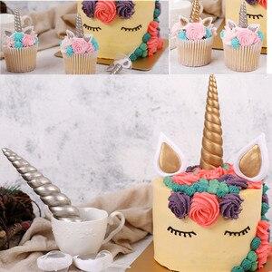 Image 2 - Decoração de bolo de unicórnio, argila, buzina, orelhas, olhos, unicórnio, ferramentas de decoração de bolo, sobremesa, festa de aniversário, toppers
