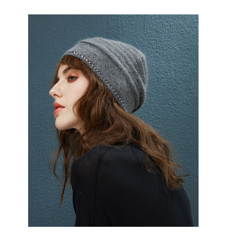 ... Winter Hats With Diamond Decor Hat Female Autumn Beanie For Women s Wool  Knitted Warm Caps 2018 ... 1f85a355a4c0