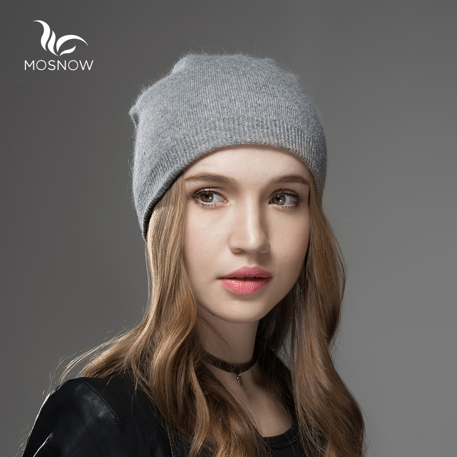 Mosnow 2016 New Solid Wool Winter Hats For Women Asymmetrical Knitted Vogue Brand Casual Warm Hat