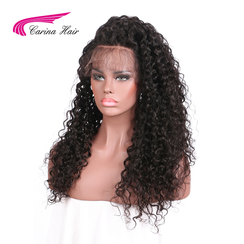 Carina Hair Brazilian Non-Remy Human Hair 150 Density Kinky Curly Full lace Human Hair Wigs With Baby Hair Pre Plucked Hairline