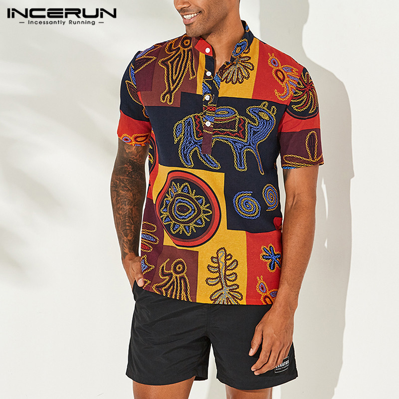 INCERUN Men Shirt Short Sleeve Stand Collar Breathable Ethnic Style Print Cotton Tops 2019 Vintage Loose Hawaiian Shirts Men 5XL