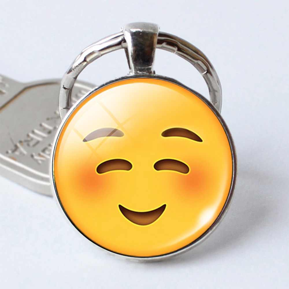 HOT! Silver Color Multi Emoji Pictures Glass Cabochon Keychain Smile  Smileys Face Key Chain Keyring Key Holder Jewelry Gift