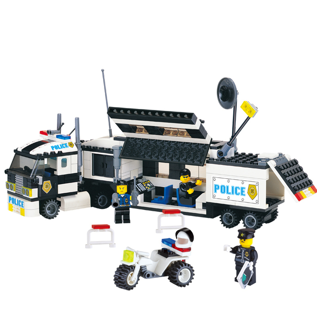 police truck building kits 325pcs blocks sets city cop hero cars playmobil educational diy bricks kids