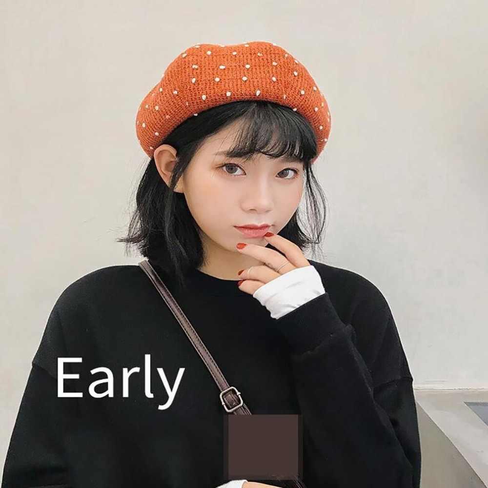 Новинка 2019, Модный женский берет, однотонная шляпа, шерстяные вязаные береты с бусинами, женские береты, шапка, Кепка