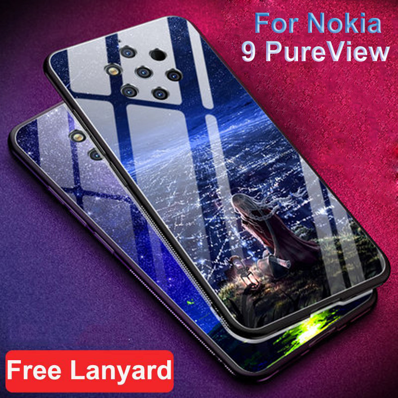 For Nokia 9 PureView Case cover starry star Tempered glass hard phone case For Nokia 9 Pure View glass shell Nokia9 PureView bagFor Nokia 9 PureView Case cover starry star Tempered glass hard phone case For Nokia 9 Pure View glass shell Nokia9 PureView bag