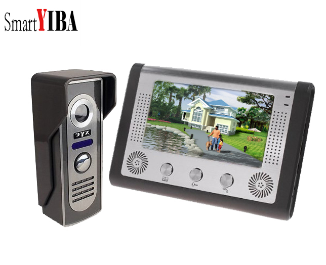 SmartYIBA 7 Inch Wired Video Intercom Rainproof Video Door Phone Doorbell Call Button Camera 1000TVL Color for Private Houses