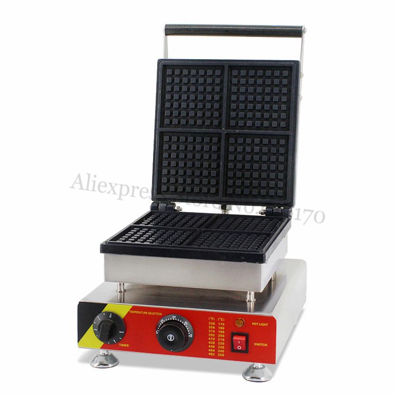 Commercial Square Waffle Maker Stainless Steel Square Electric Waffle Machine with Four pcs Square Waffle Molds 220V 110V commercial non stick carton bear waffle baker stainless steel waffle machine unique design with 2 pcs molds 220v 110v