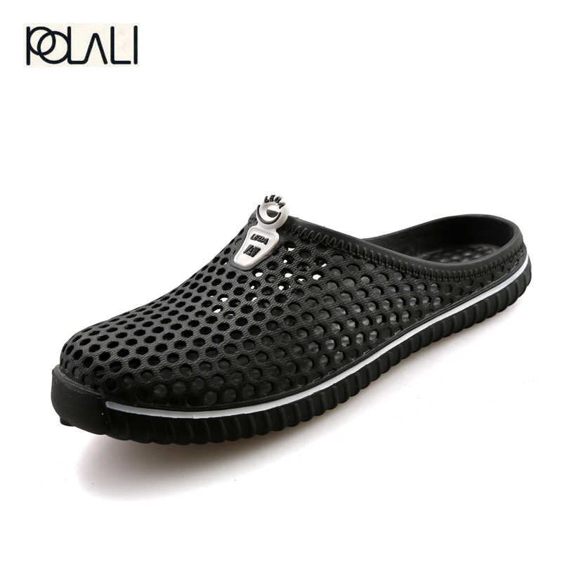ad8f2e23998b3 POLALI 2018 Summer Slippers Men Hollow Out Breathable Beach Flip Flops  Unisex Casual Slip-on