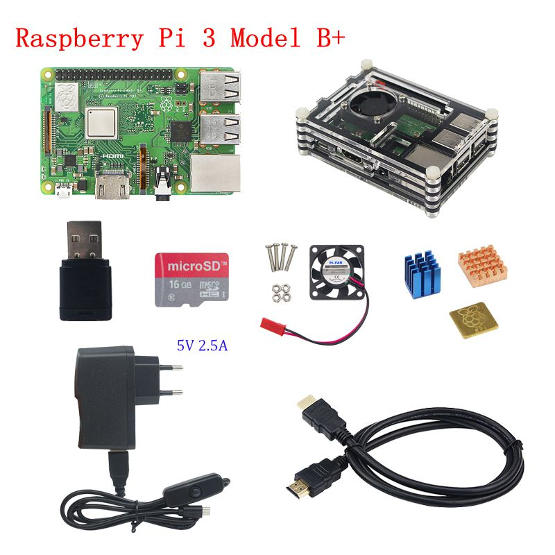 2018 Raspberry Pi 3 Model B+ Kit Raspberry Pi 3 Model B+5V 2.5A Power Adapter+Heat Sink+ABS Acrylic Case+SD Card+HDMI Cable original 1gb ras pi 3 kit raspberry pi 3 model b board acrylic case cooling fan sic heat sink 5v2 5a power charger 2 4g keyboard