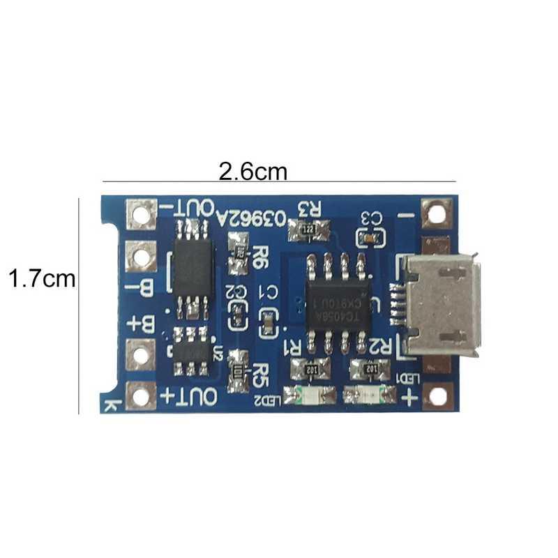 1A tipo Li-Ion-c/Micro USB 5 V 1A 18650 Batteria Al Litio Caricabatterie Modulo di Ricarica Con Protezione due Funzioni