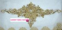 Etnicznych Indian jedwabiu suknia ślubna ręcznie haftowane srebrny i złoty rhinestone aplikacja ubrania pas akcesoria Detaliczna