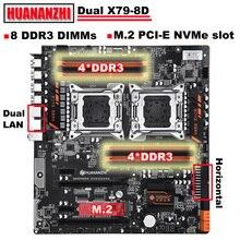 HUANANZHI placa base de toma de corriente de doble CPU, X79 8D, buena Placa base con NVMe SSD, ranura M.2, 2 puertos Ethernet GIGA, 8 DIMMs DDR3
