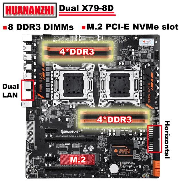Huananzhi X79 8Dデュアルcpuソケットのマザーボード販売良いとnvme ssd M.2スロット2ギガイーサネットポート8 DDR3 dimm