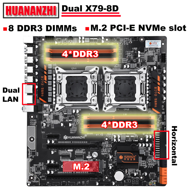 New arrival HUANANZHI dual X79 motherboard discount motherboard with M.2 slot dual Giga LAN port 8*DDR3 DIMM RAM max up to 8*32G