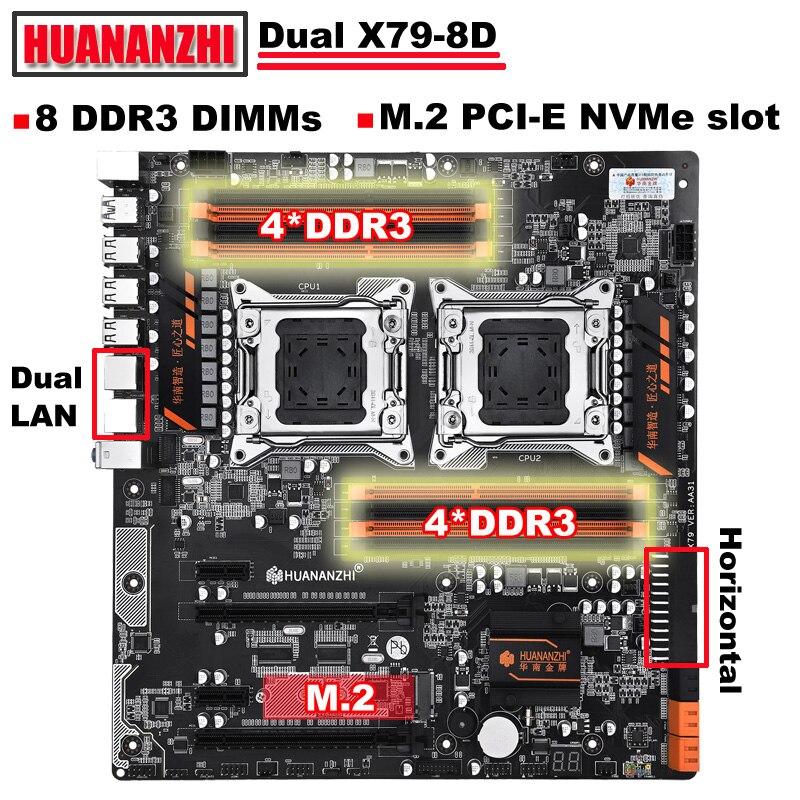 Nova chegada HUANANZHI dual X79 motherboard desconto motherboard com slot dual Giga LAN port 8 * DDR3 M.2 RAM DIMM max até 8*32G
