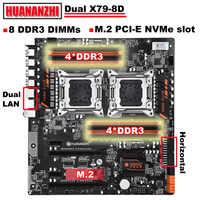 Nueva placa base de descuento huananchi dual X79 con ranura m2 puerto LAN Giga dual 8 * DDR3 DIMM RAM máximo hasta 8*32G