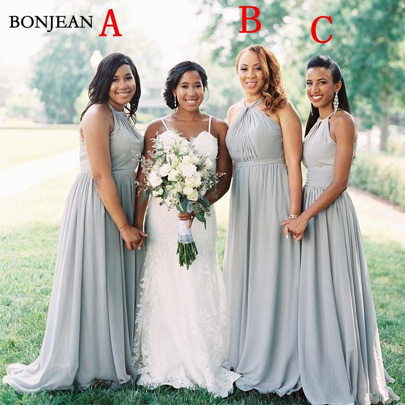 Cheap Summer Beach Bohemian Chiffon Long Bridesmaid Dresses 2019 Floor Length Maid Of Honor Gowns Plus Size Mixed Styles