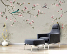 beibehang Custom fashion stereo 3d wallpaper new Chinese simple hand-painted magnolia bird TV background wall papers home decor